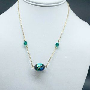 Sarah Coventry Peacock Blue Night Garden necklace